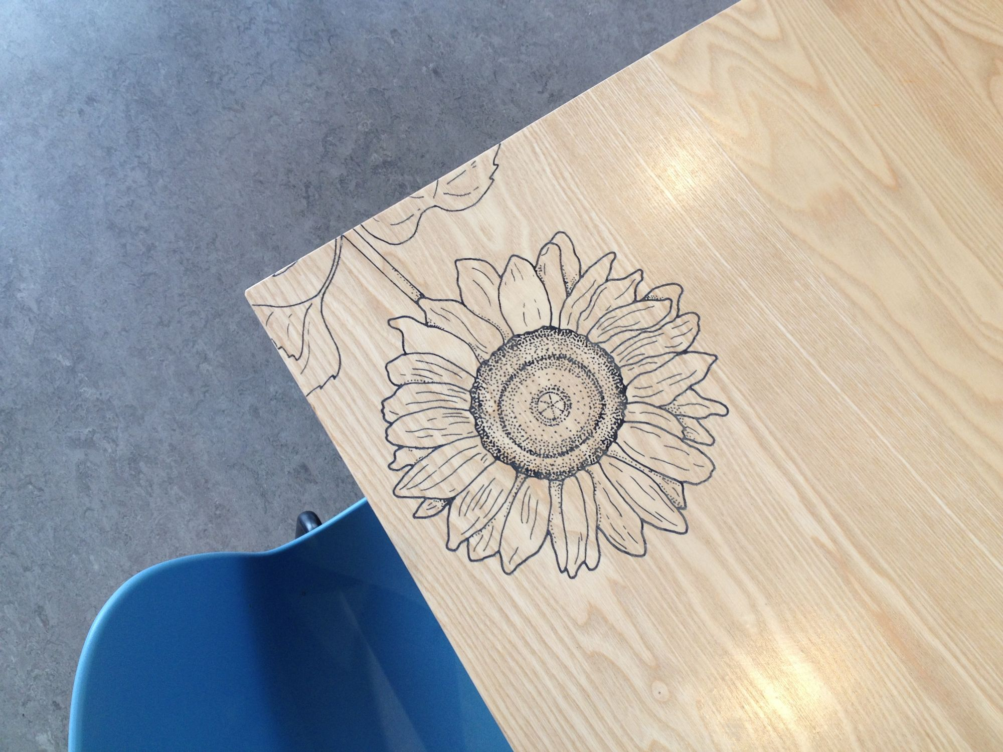 Beautiful floral detail on the tables